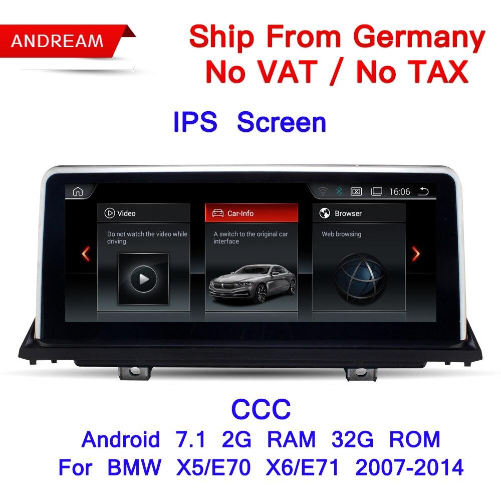 10.25 Android Écran ID6 Interface Véhicule lecteur multimédia Pour BMW E70 E71 X5 X6 Bluetooth GPS Navigation Wifi EW969B-CCC