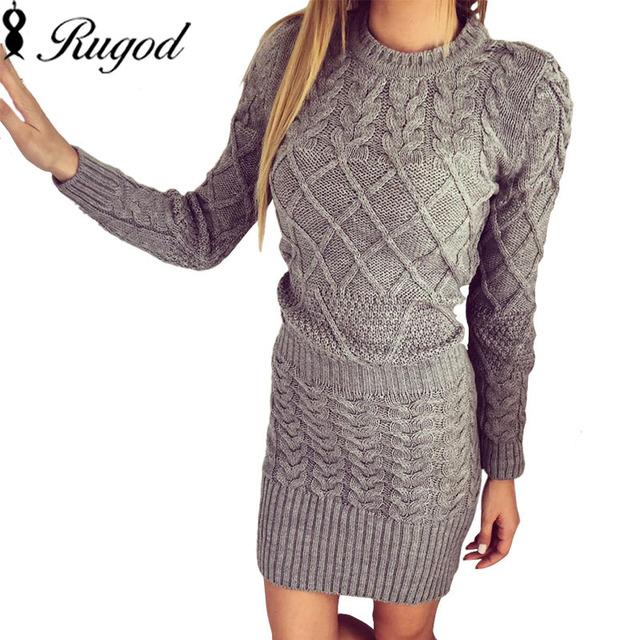 Nuevo suéter de las mujeres vestidos de otoño invierno de manga larga de punto elástico grueso negro blanco gris cálido delgado bodycon dress vestidos