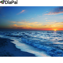 DIAPAI Diamond Painting 5D DIY 100% Full Square/Round Drill Sunset seaside Embroidery Cross Stitch 3D Decor A24766