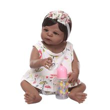 New Reborn Doll Realistic Silicone Vinyl Newborn Babies Toy Girl Princess Floral Clothes Pacifier Lifelike Handmade Gift 22inch prolife pwb01 6000 6000мач черный