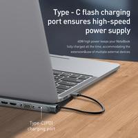 Baseus USB Type C HUB to 3.0 USB HDMI-compatible RJ45 USB HUB for MacBook Pro USB Splitter Multi 11 Ports Type C HUB USB-C HUB