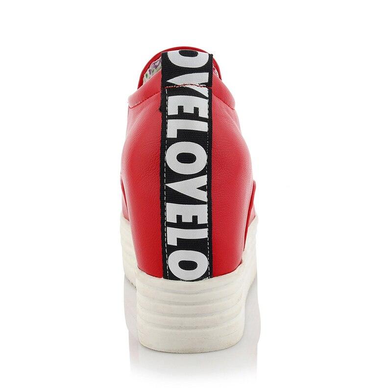 Talon Taille Plate De Mode Bout Collège Confortable Femmes Augmentation Élastique forme red Chainingyee Haute Chaussures Rond Grande Casual Black white qv4aF