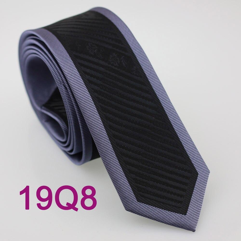 Yibei Coachella связи Для мужчин узкие галстук Дизайн границы Сталь Серый с черной полосой микрофибры галстук мода Slim Tie