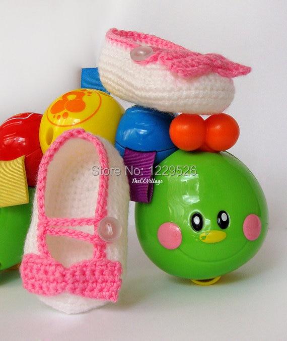 Børnepige hvide sko, rød eller pink bue og knap, hæklede Ballerina Babysko
