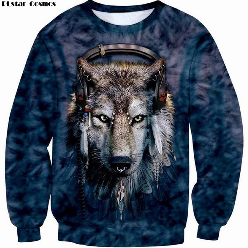 2018 New Arrival Hot Fashion Mens 3D Print DJ Wolf Dog Sweatshirt Crewneck Long Sleeve Brand Clothing Man Tops Plus Size 5XL