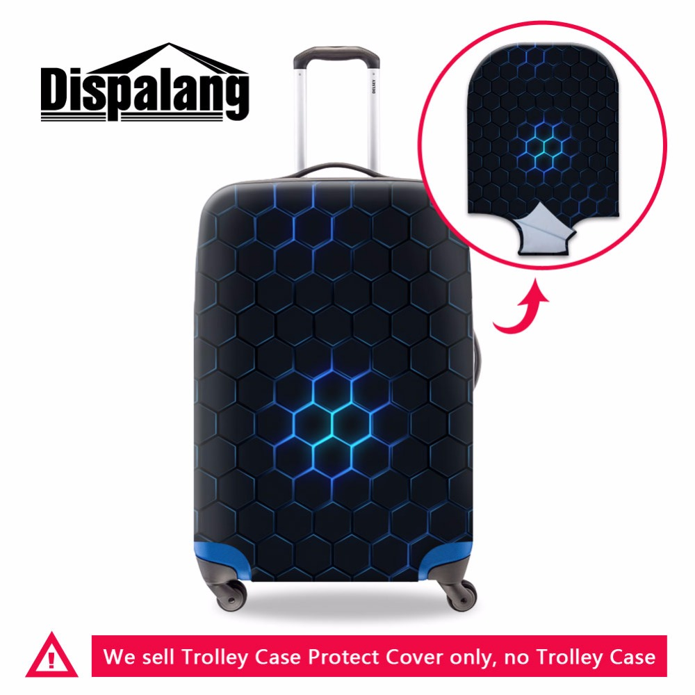 Dispalang Hexagon Pattern Male Waterproof Travel Suitcase Cover Anti-dust Trolley Case Cover Boys Stretch Elastic Baggage Cover