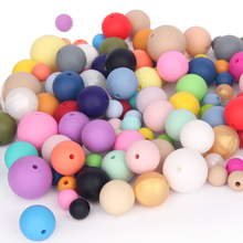 TYRY, HU 100 pcs Silicone Beads Untuk Kalung Bayi Chews Pacifier Leash Aksesoris Food Grade Silicone 9/12/15 / 19mm