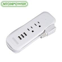 NTONPOWER USB güç şeridi ABD Taşınabilir Elektrikli Fiş 2 Çıkışları 3 USB şarj aleti ile 38 CM Kısa Güç Kablosu için Seyahat