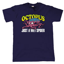Octopus Wet Spider Mens Funny T Shirt, Fathers Day Birthday Gift for Dad Grandad Funny Tops Tee New Unisex Funny цена и фото