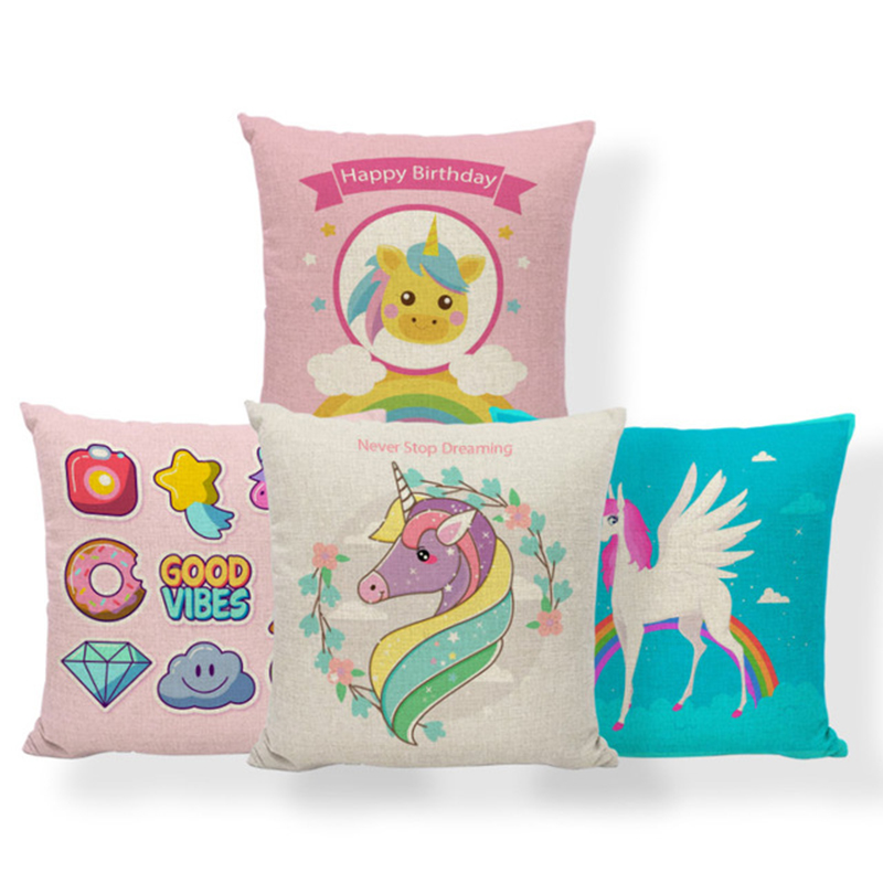 Unicorn Rainbow Cushion Cover Diamond Flower Pillows Covers Lounge Anniversary Gift For Couples Throw Pillow Covers Small Linen