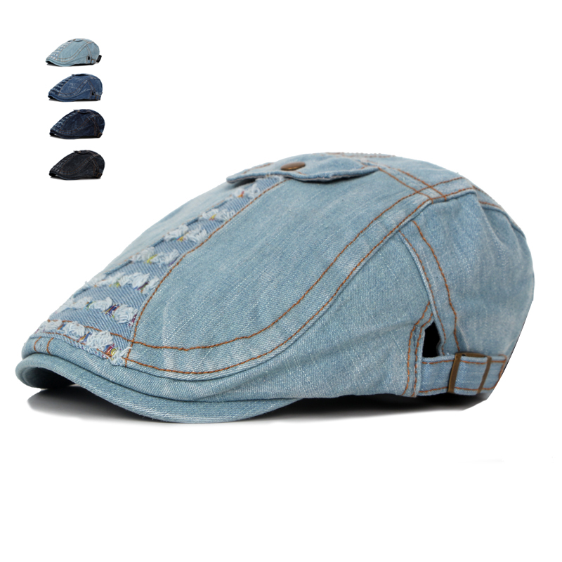 New Fashion Summer Jeans Cap for Men Women Washed Denim Hat Casual Golf Driving Newsboy Flat Caps Unisex Denim Berets Hats