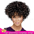 Good quality New Fashion Women Short Kinky Curly Full Bangs BOBO Hair Wigs best deal 1pcs Full Lace Short Wigs For Black Women