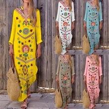 Летнее пляжное платье юбка туника на купальнике накидка для женщин закрытый купальник 2019 Tong-длинный рукав v-образный вырез принт хлопок