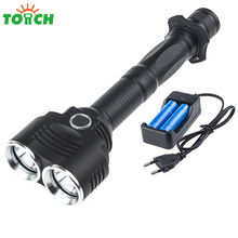 5000 lm Cree xml 2*T6 Most Powerful Led Flashlight 5 Mode Non Asjustable Focus Torch with 18650 Li ion+EU/US/UK/AU Charger