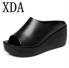 708fb78bb XDA 2019 new Hot Sale Women shoes Summer Fashion Leisure slipper women Fish  Mouth high heel Sandals Thick Bottom Slippers