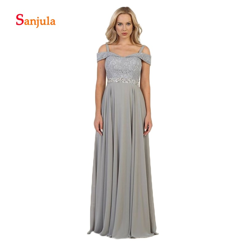 Grey Chiffon   Bridesmaid     Dresses   A-Line Sweetheart Tank Cheap Maid of Honor   Dresses   Long Beaded Sequins Shiny Prom   Dresses   D441