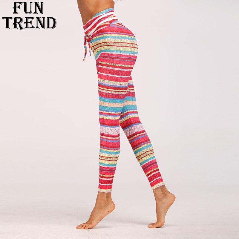 Sport Leggings High Waist Women Yoga Pants Striped Yoga Leggings Women Fitness Sport Pants Workout Running Tights Sport Clothing