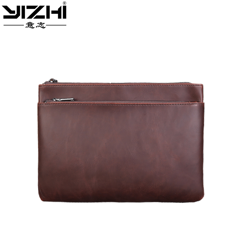 YIZHI2018 New Business Casual Men's Briefcase Is A High Quality PU Leather Double Zipper Can Accommodate 10 Inch IPad