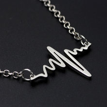 Stainless Steel Rhythm Charm Heart Beat Necklace Silver Women's Electrocardiogram Pendant Necklace Chain Gift for Doctor Nurse(China)