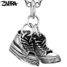 ZABRA Solid 925 Silver Luxury Vintage Shoes 25*9mm Pendant for Women Men Necklace Steampunk Bikers Sterling Silver Jewelry