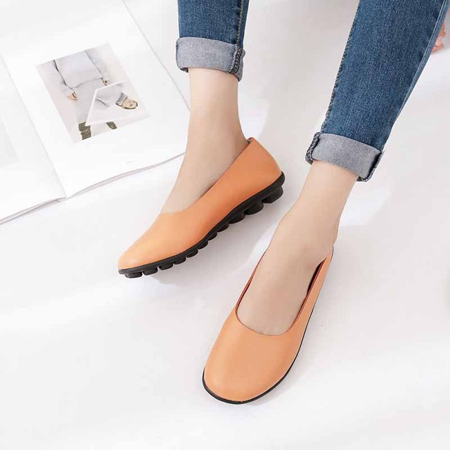 21e56ae4764 New Ballet Flats Shoes Women Casual Boat Loafers Plus Size 44 Pigskin Leather  Shoes Peas Sole Non-slip Soft Fashion Retro Style