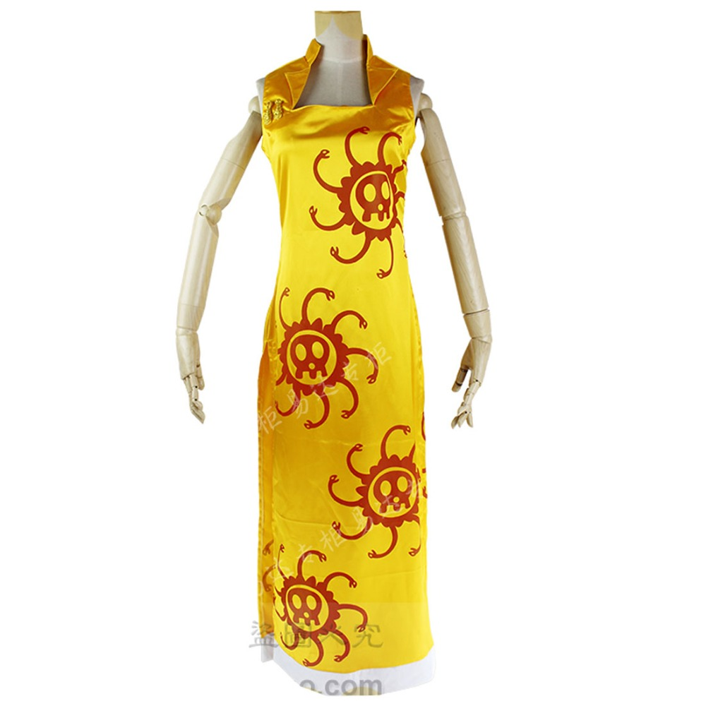2018 One Piece Cosplay Pirate Empress Boa Hancock Yellow Cheongsam Dress Costume Three Colors For Choosing