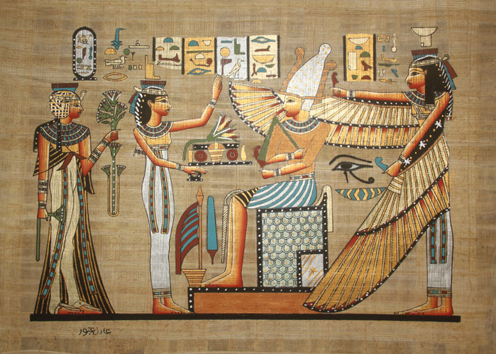 Wall art home decor egyptian papyrus maat with isis hand for Egyptian mural art