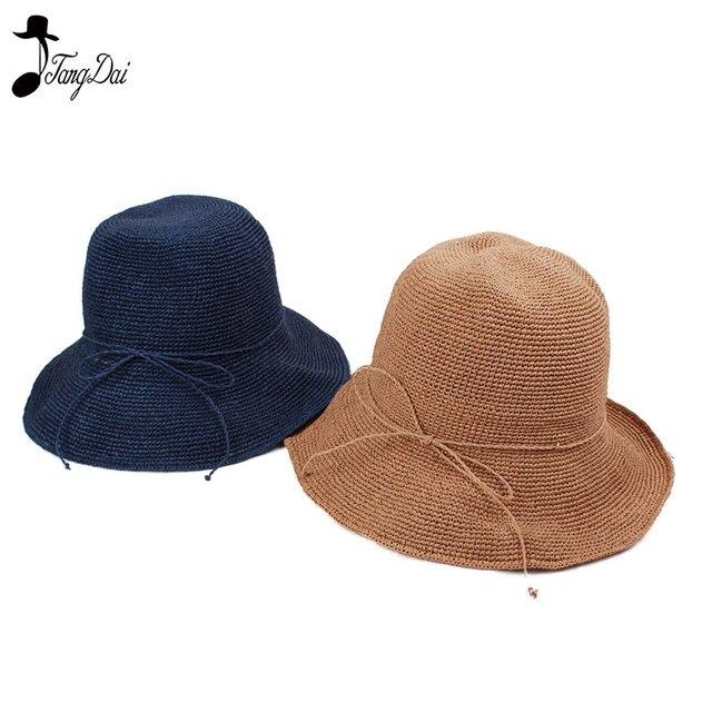 e730651626104 Raffia Straw Bucket Hat Women 2018 Summer Sun Hats for Ladies Packable Hats  Crochet Hat
