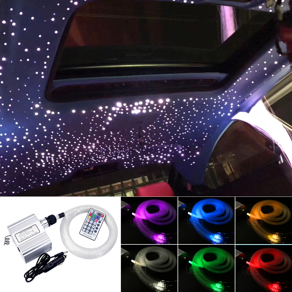 Car Use 10W Twinkle RGBW LED Fiber Optic Star Ceiling Lights Kit 150/200pcs 0.75mm 2M Optical Fiber  Light Engine +28Key