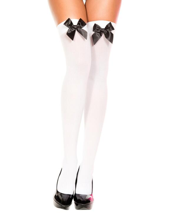 New Arrival Sexy Women Girl Nylon Stretchy Over The Knee High Socks Stockings Tights With Bows Thigh high quality