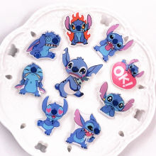 1Pcs Classics Lilo Stitch Cute Cartoon Scrapbooking Stickers Acrylic Badges for Backpack bags shoes Brooches Pins on Clothes(China)