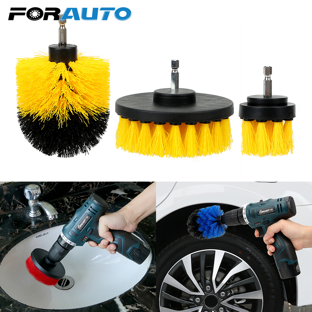 FORAUTO 3pcs/set Car Wash Brush Hard Bristle Drill Scrubber Brush Kit Auto Detailing Cleaning Brush Auto Care Cleaning Tools