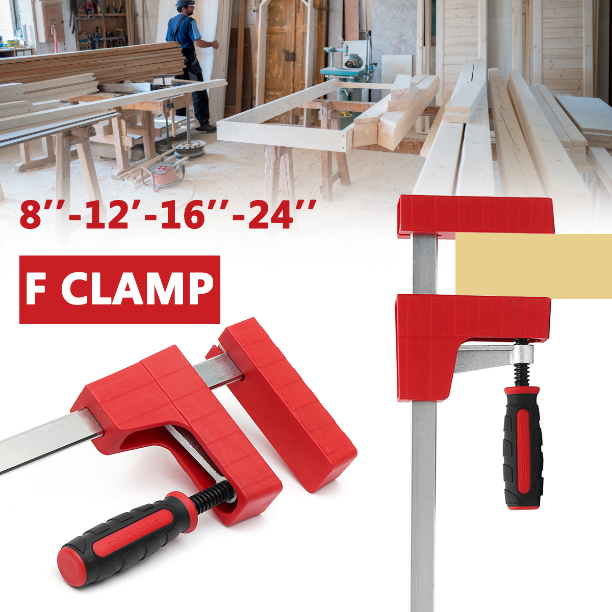 8/12/16/24 inch Heavy Duty F Clamp Parallel Tool 80mm Depth Adjustable DIY Woodworking Wood Clamping Carpenter Clamps Grip 1 2 3 inch g type woodworking clamp clamping device adjustable diy carpentry gadgets heavy duty g clamp