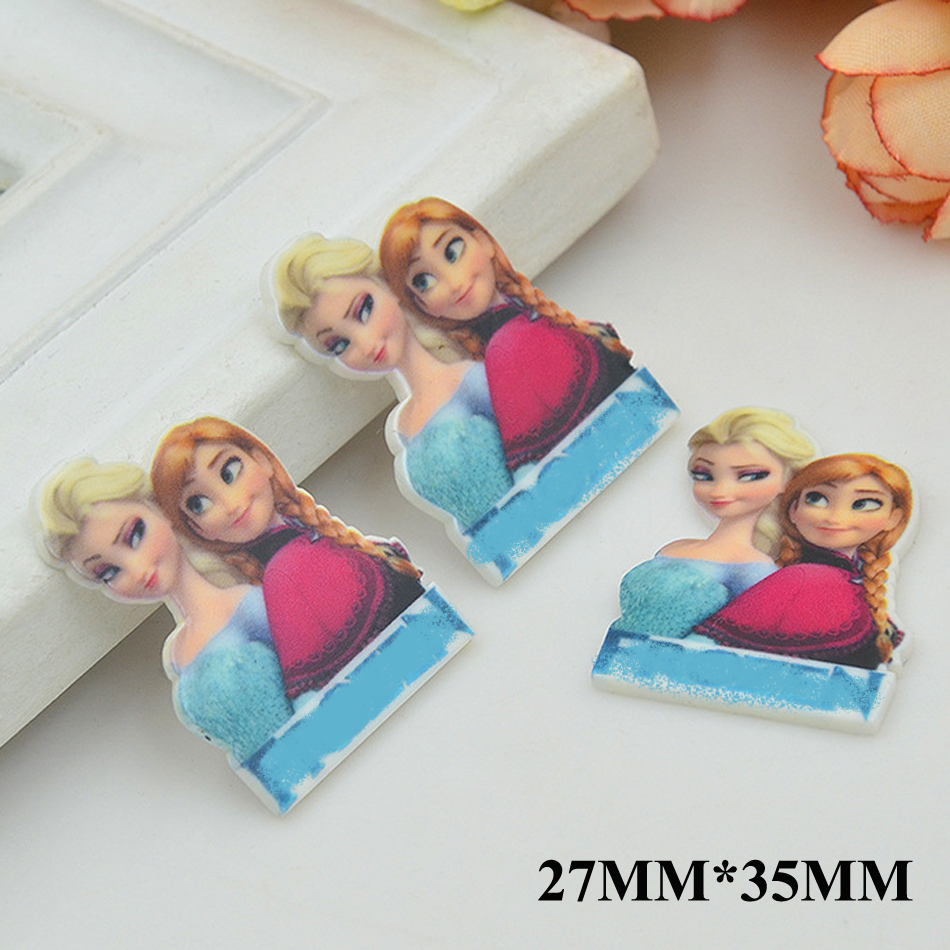 50pcs/lot 27MM*35MM New Cute Cartoon Princess Flat Back Resin Planar Hair Bow DIY Craft For Home Decoration Accessoris FR032