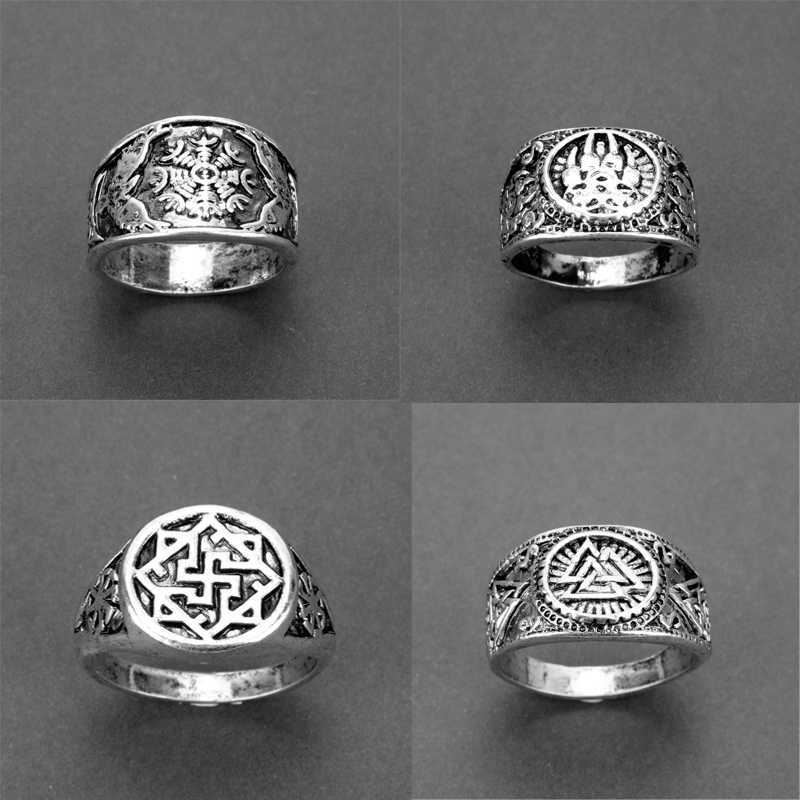 Gothic Nordic mythology Viking rune vintage silver rings Signet Ring Weddigg Norse Antique Badge fashion Men Women Jewelry ring