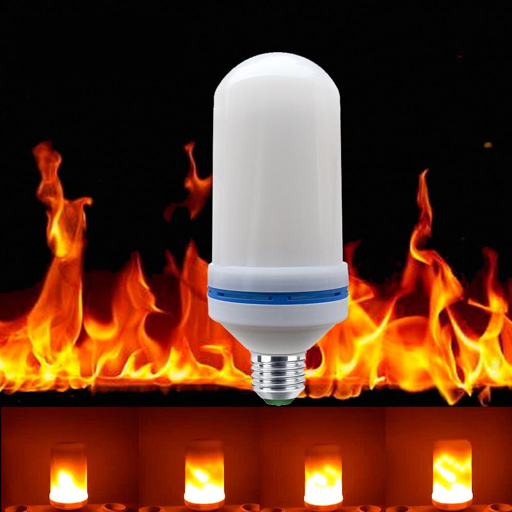 1PCS E27 2835 LED Flame Effect Fire Light Bulbs 7W Creative Lights Flickering Emulation Vintage Atmosphere Decorative Lamp