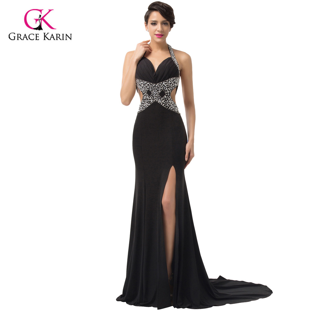 2018 Glamorous Deep V neck Slit Long Prom Dresses Gown Beaded Party ...