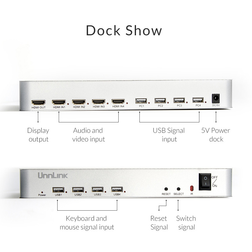 Unnlink HDMI 2.0 4X1 KVM Switch 4 Port USB KVM HDMI Switch Support 4K@60HZ with Remote Control High Quality for 4 Hosts