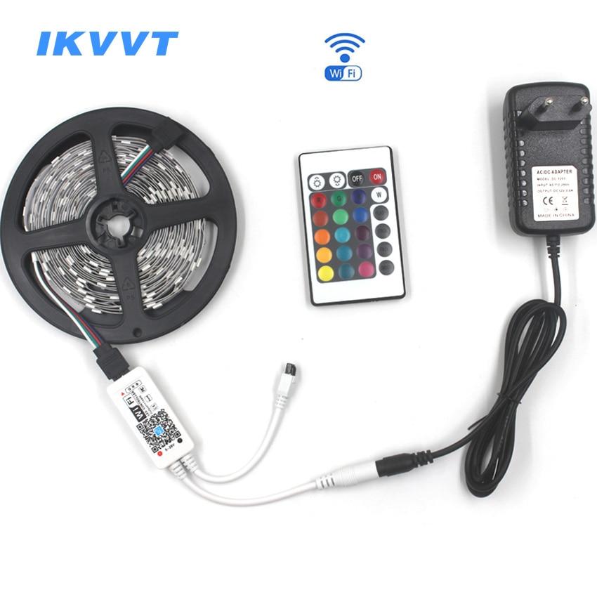 IKVVT 5M 5050 RGB WIFI LED Strip Light Kit Waterproof RGB 30LEDS/M 10M 15M LED ribbon tape Lamp Remote wifi Wireless Controller