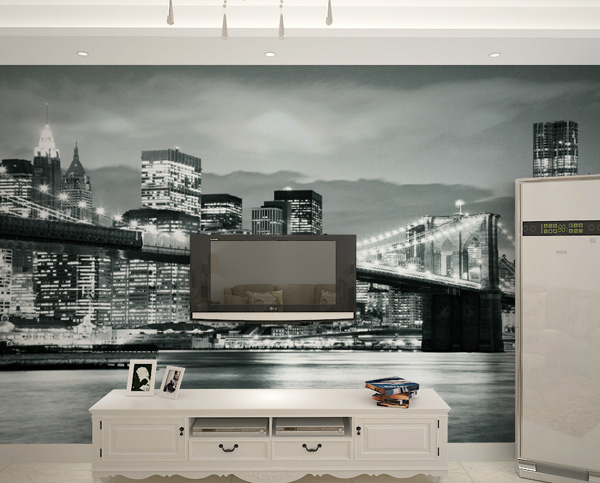 Free Shipping City Lights Modern Hotel KTV Theme Black And White - City lights wallpaper for bedroom