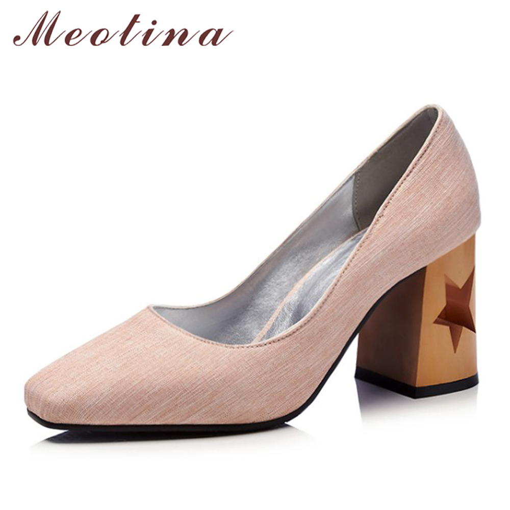 Meotina Women High Heels Square Toe Shoes Slip On Hollow Thick Heels Ladies Pumps Shallow 2018 Spring Shoes Grey Plus Size 33-46 meotina women wedding shoes 2018 spring platform high heels shoes pumps peep toe bow white slip on sexy shoes ladies size 34 43