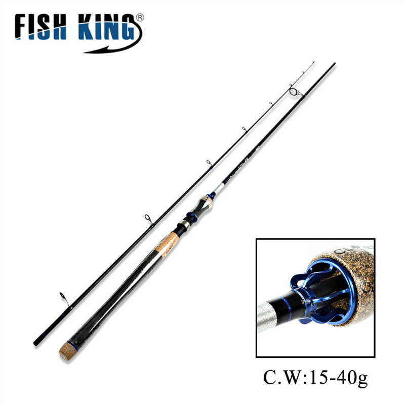 FISH KING 2 Section H power C W 15 40G Carbon Spinning Fishing Rod 10 20LB
