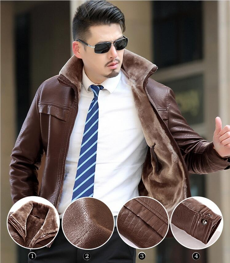 M-4XL Men's leather jacket coat Hot new fashion thicker warm winter leather jackets fur coat wool liner, mixed leather PC075