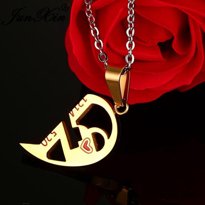 JUNXIN Unique Key Detachable Half Love Heart Pendants For Women Men Stainless Steel Couples Necklaces Fashion Valentine Gifts