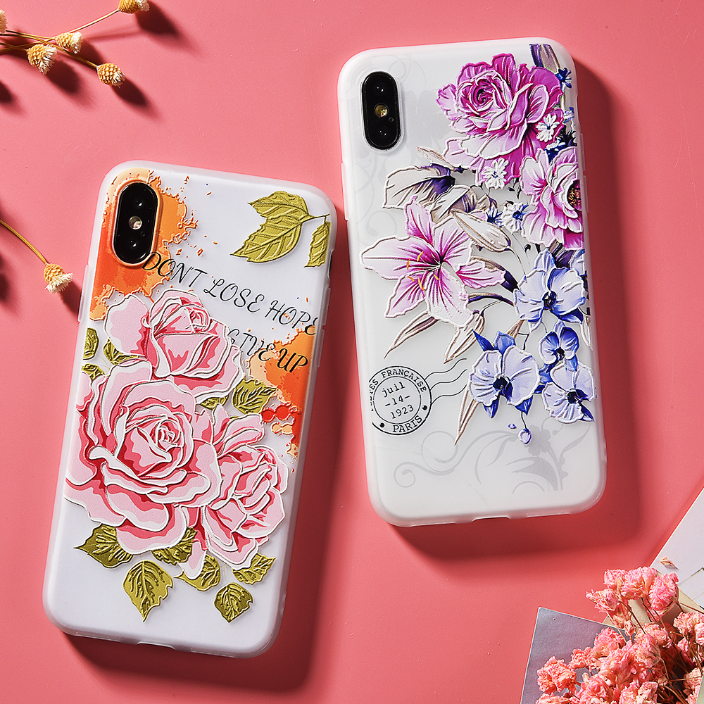 Floral Relief Iphone Case Soft Silicone
