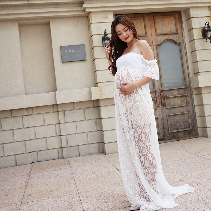 Pregnancy Pregnant Women Summer Sheath Ruffle Sleeve Photoshoot Dress Maternity White Lace Dress Clothes For Photography Props все цены