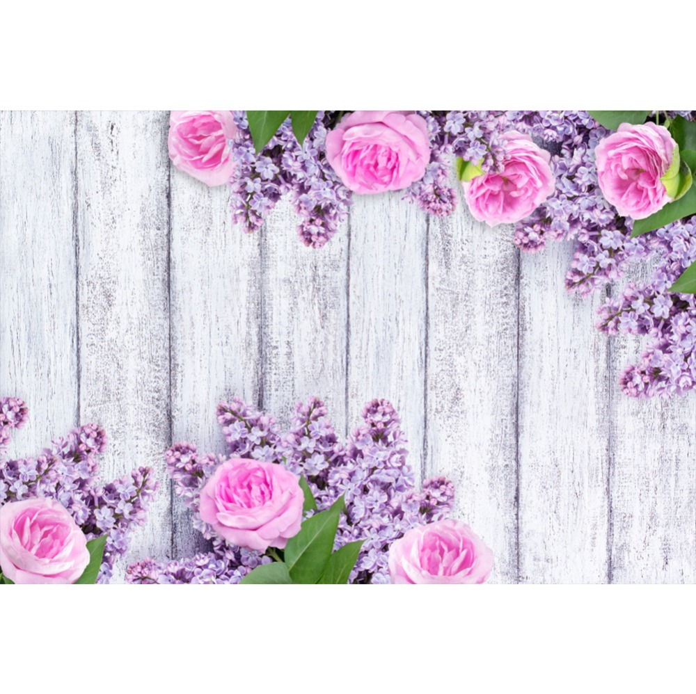 Laeacco Flowers Leaves Wooden Boards Baby Birthday Celebration Stage Scene Photo Backgrounds Photographic Backdrops Studio
