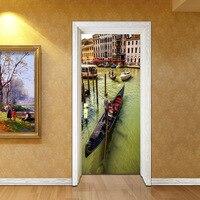 2 Panels Water city 3D Wall Murals Wall Stickers Door Sticker Wallpaper Decals LivingRoom BedroomHome Decoration