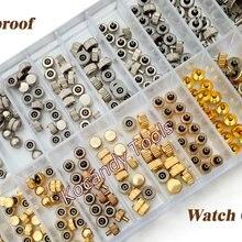 Водонепроницаемые запасные части короны для часов ассорти золотых и серебряных купольных плоских головок, аксессуары для часов, ремонтный набор инструментов для часовщика