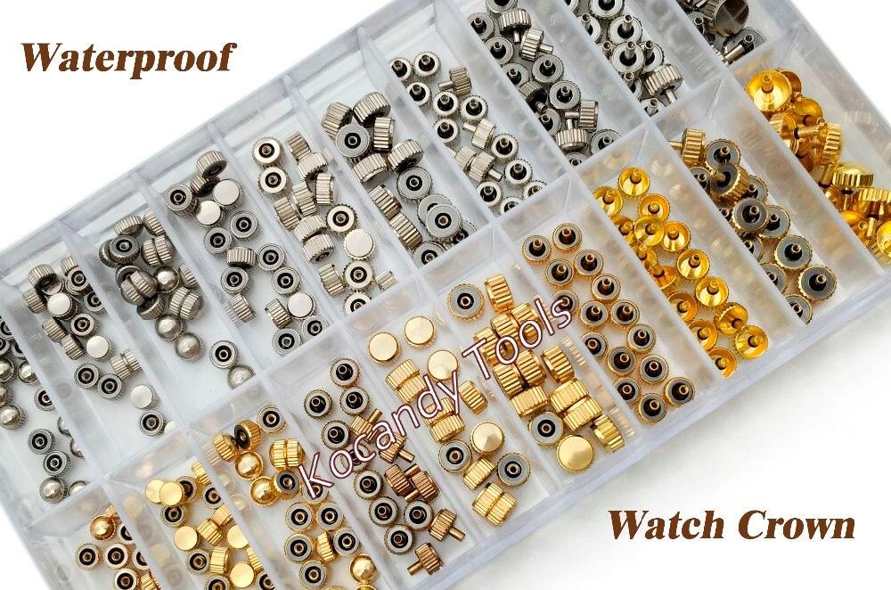 방수 시계 크라운 부품 교체 모듬 된 골드 & 실버 돔 플랫 헤드 시계 액세서리 수리 도구 키트 시계 제조 업체에 대 한